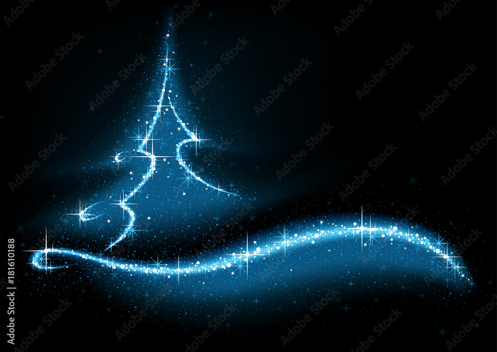Photo  Blue Abstract Glittering Christmas Tree - Background Illustration, Vector