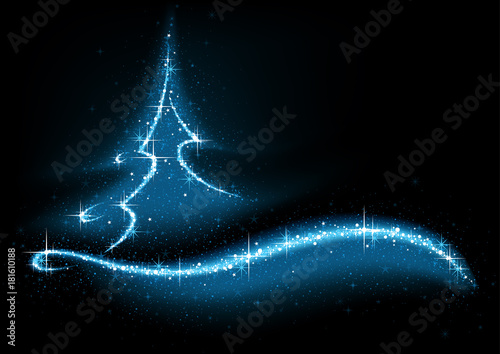Foto Blue Abstract Glittering Christmas Tree - Background Illustration, Vector