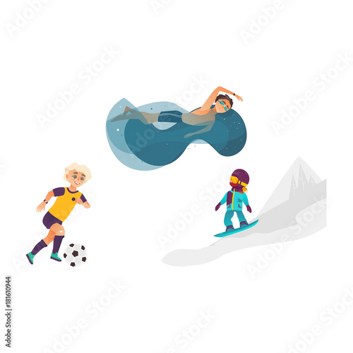 Autocollant pour porte Super heros vector cartoon kids doing sports set. Boy playing football, another one swimming in water pool in goggles, girl snowboarding in winter outdoor clothing. Isolated illustration white background