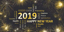Happy New Year 2019 - Silvester Greeting Card With Good Wishes