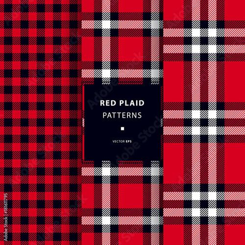 Photo  Scottish red plaid seamless patterns set