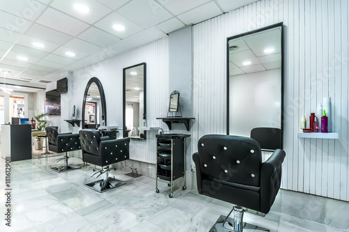Modern bright beauty salon. Hair salon interior business – kaufen ...