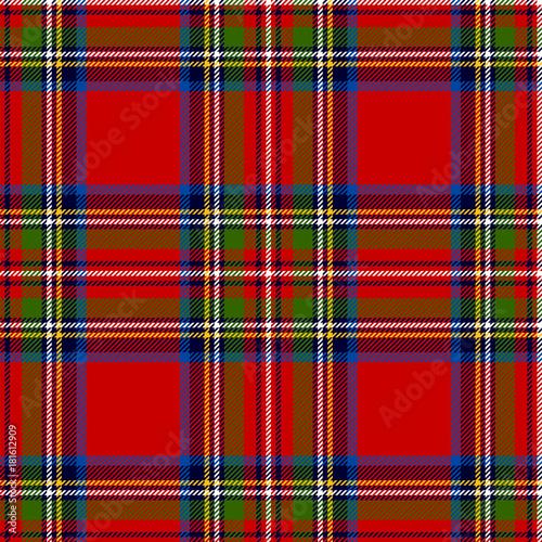 Photo  Scottish plaid. Royal Stewart tartan, seamless pattern