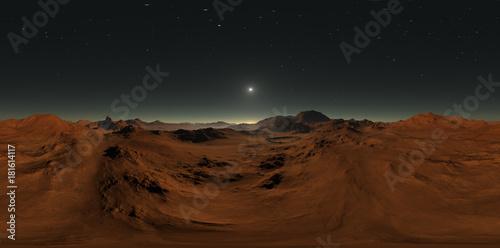 Panorama of Mars sunset, environment HDRI map  Equirectangular