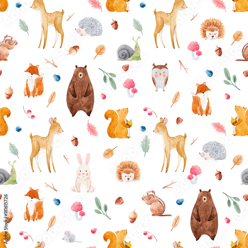 Cuadros en Lienzo Watercolor baby vector pattern