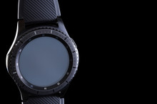 Smart Watch With An Empty Dial On A Black Background