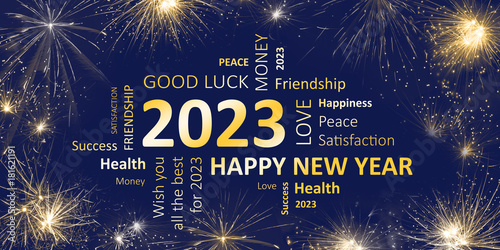 Poster  Happy new year 2023 greeting card