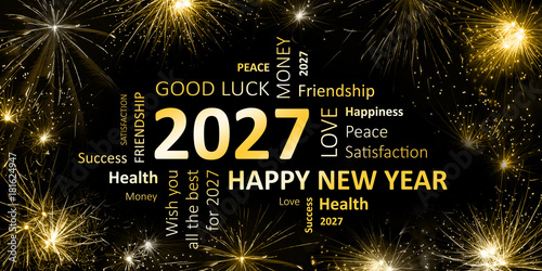 Photo  Happy new Year 2027 Glückwunschkarte für Silvester