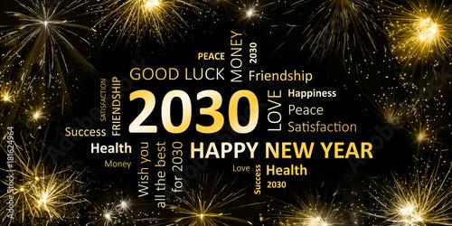 Fotografia  Happy new Year 2030 Glückwunschkarte für Silvester