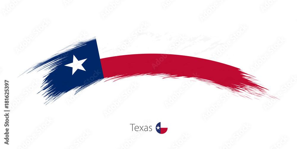 Flaga Teksasu w zaokrąglonym pociągnięciem pędzla.