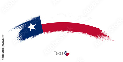Fotografie, Obraz  Flag of Texas in rounded grunge brush stroke.