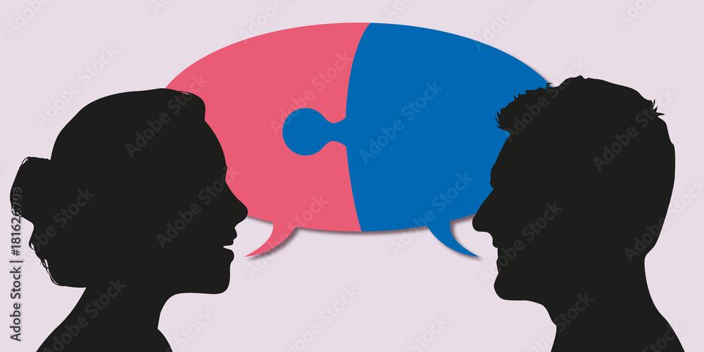 Fototapeta couple - discussion - entente - associé - association - union - ensemble - partenaire