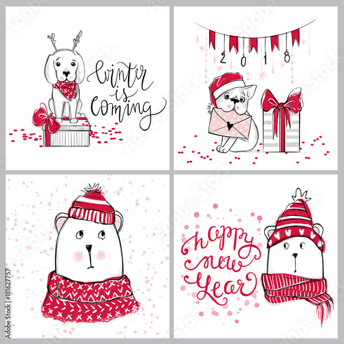 Printed kitchen splashbacks Illustrations Merry Christmas 2018 collection with cute greeting cards. Funny