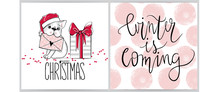 Merry Christmas Collection With Greeting Cards.