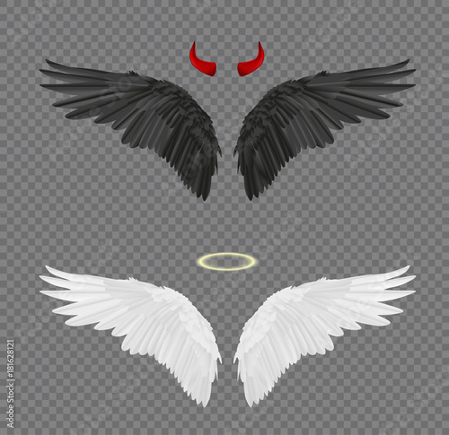 Set of angel and devil realistic wings, horns and halo isolated on transparent background Wall mural