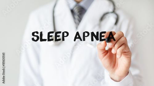 Doctor writing word Sleep Apnea with marker, Medical concept Canvas Print
