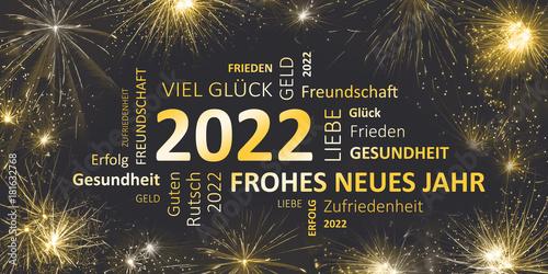 Poster  Silvesterkarte mit Glückwünschen für 2022