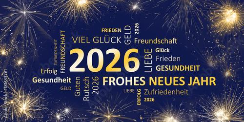 Poster  Neujahrsgruß 2026 blau gold mit guten wünschen