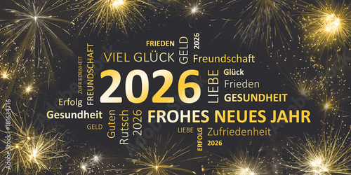 Fotografia  Silvesterkarte mit Glückwünschen für 2026