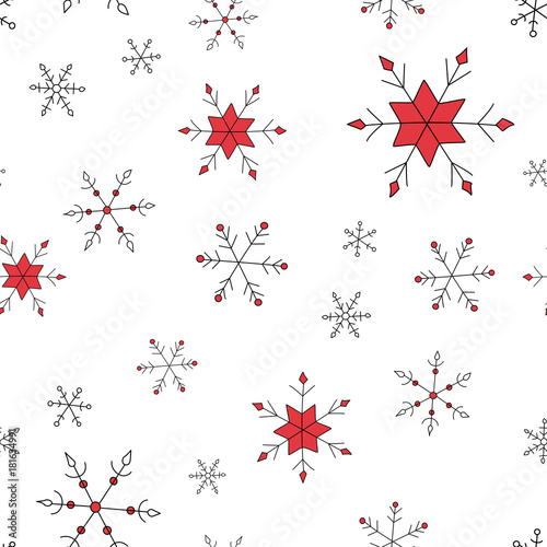 Fototapeta Simple vector Christmas and New Year seamless pattern with snowflakes. obraz na płótnie