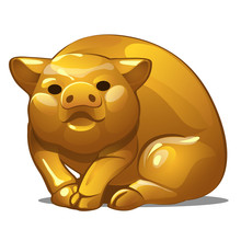 Golden Figure Of Pig. Chinese ...