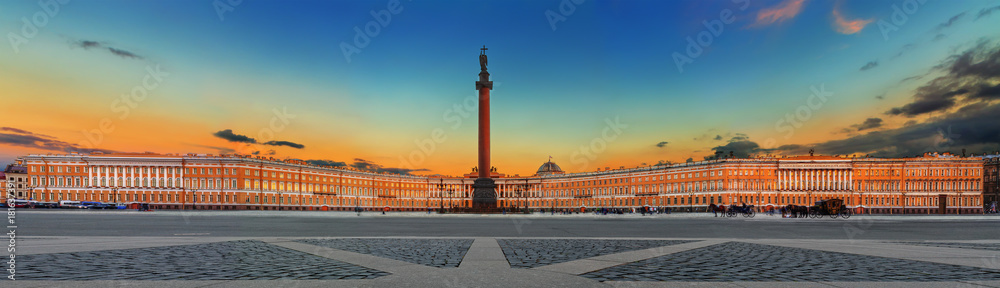 Fototapety, obrazy: Alexander Column and General Staff on Palace Square in Saint Petersburg (Russia)