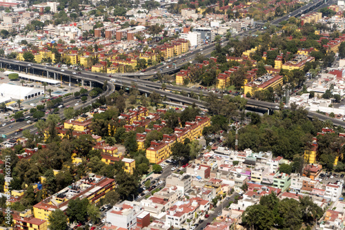 mexico city aerial view cityscape panorama Canvas Print