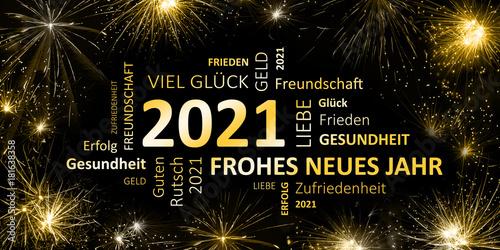 Cuadros en Lienzo schwarz goldene Silvesterkarte mit Feuerwerk  Frohes neues Jahr 2021