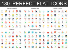 180 Modern Flat Icons Set Of Entertainment, Summer Time, Travel Cruise, Camping, Gps Navigation And Insurance Icons.