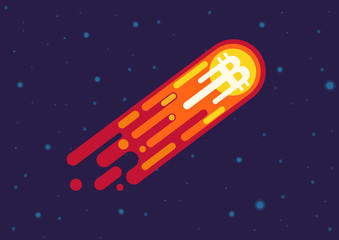 Vector Cartoon illustration of comet with bitcoin symbol flying in open space.