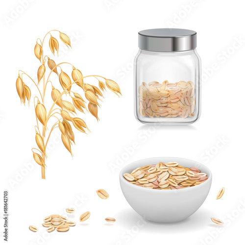 Photo Oats, oat flakes in glass