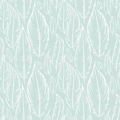 Fototapeta Boho Background with blue feathers / Vector seamless pattern in the style of Boho