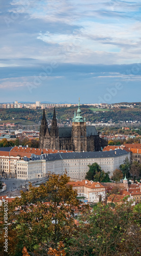 Aluminium Prints Prague Aerial view of the Old Town architecture with red roofs in Prague , Czech Republic. St. Vitus Cathedral in Prague.