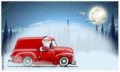 Staande foto Cartoon cars Vector Christmas Card