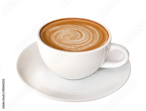Fototapeta Hot coffee latte cappuccino spiral foam isolated on white background, clipping p