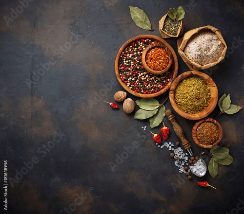 Various type of herbs and spices Wallpaper Mural