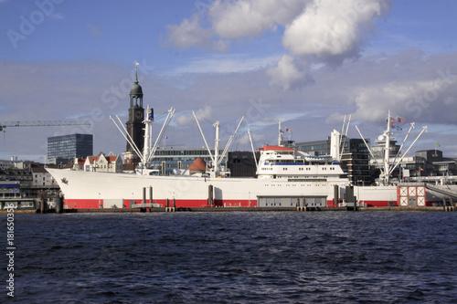 Plakat Ładunku statek w Hamburskim schronieniu, Niemcy, Europa