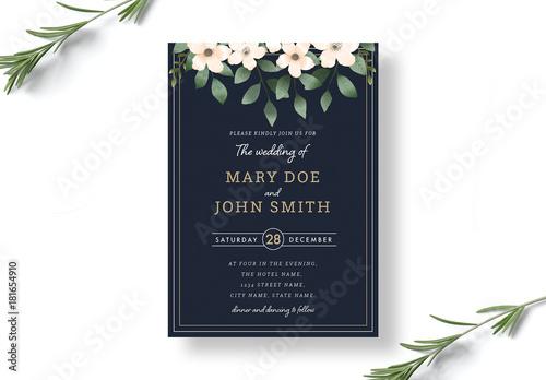 Botanical Wedding Invitation Layout Kaufen Sie Diese Vorlage Und
