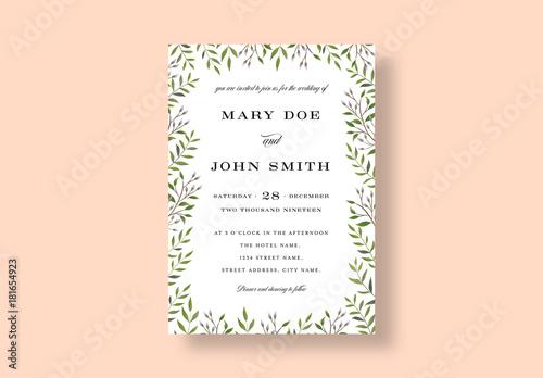 Botanical Wedding Invitation Layout Buy This Stock Template And - Wedding invite layout templates