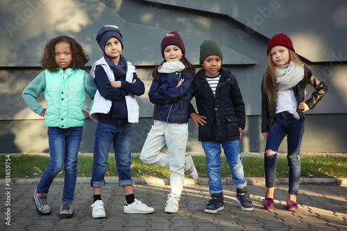 Cute stylish children outdoors Slika na platnu