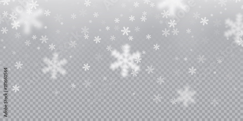 Falling snowflake pattern background of white cold snowfall overlay texture isolated on transparent background. Winter Xmas snow flake ice elements template for Christmas of New Year holiday design