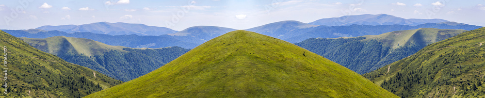 Fototapety, obrazy: Panorama of green hills in summer mountains