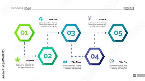 Fototapeta Process Chart with Five Elements Template obraz