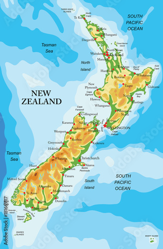 Cuadros en Lienzo New Zealand physical map