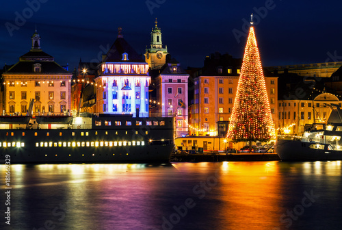 Stockholm city with illuminated christmas tree and festive decorations Canvas