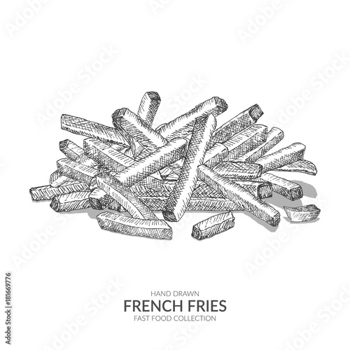 e557af53c Hand drawn french fries illustration with ink and pen. Vintage black ...