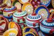 Leinwanddruck Bild - Colorful ceramic dishes. Traditional bugarian patterns.