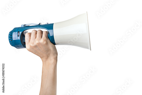 Pinturas sobre lienzo  Hand hold megaphone isolated on white background - Announcement concept