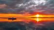 Timelapse orange sunset on the background Boat on the Beach of Gili Meno, Indonesia