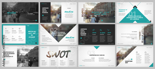 Obraz Business presentation templates elements on a white background. Vector infographics. Use in Presentation, flyer and leaflet, corporate report, marketing, advertising, annual report, banner. - fototapety do salonu